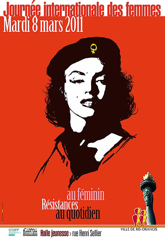 Affiche Pour La Journée De La Femme 8 mars: printemps de la femme et désespoir politique